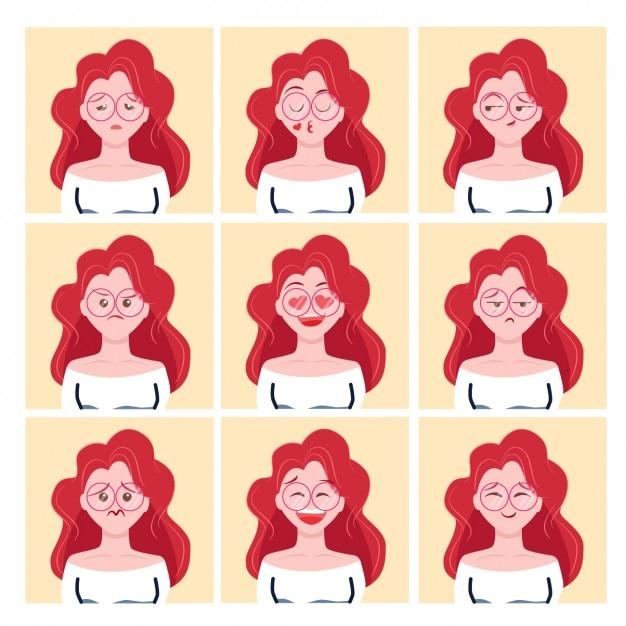 Diseño de avatares de chica pelirroja vector gratuito