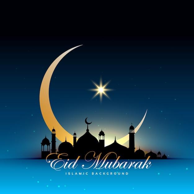 Diseño azul de eid mubarak con mezquita y luna vector gratuito