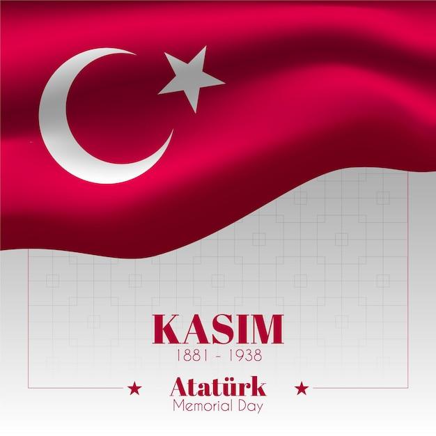 Diseño de la bandera bandera ataturk memorial day Vector Premium
