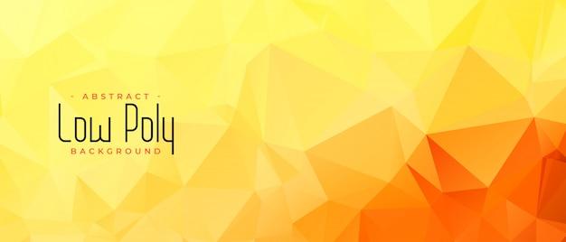 Diseño de banner abstracto amarillo naranja color low poly vector gratuito
