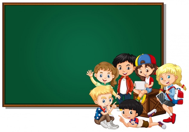 Diseño de banner en blanco con niños felices vector gratuito
