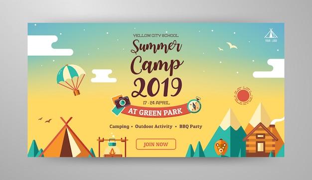 Diseño de banner de campamento de verano Vector Premium