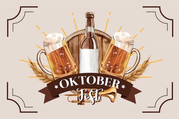 Diseño de banner clásico de oktoberfest con cubo de cerveza y trigo vector gratuito