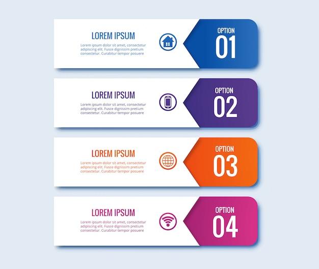 Diseño de banner creativo de concepto de pasos de infografía vector gratuito
