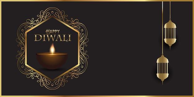 Diseño de banner decorativo para diwali con lámparas indias. vector gratuito