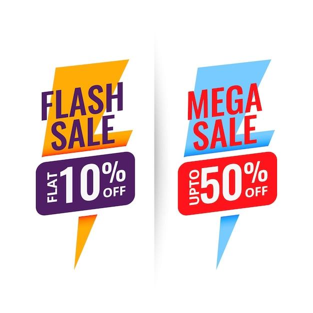 Diseño de banner de descuento de mega venta flash vector gratuito