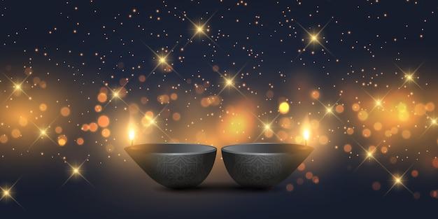 Diseño de banner de diwali con lámparas de aceite y luces bokeh. vector gratuito