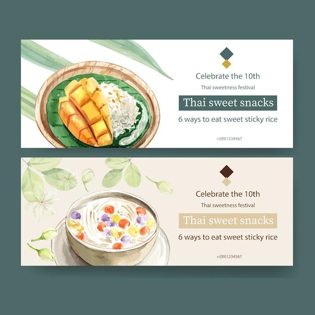Diseño de banner dulce tailandés con arroz pegajoso, mango, bua loi ilustración acuarela. vector gratuito