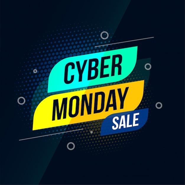 Diseño de banner elegante de venta de ciber lunes moderno vector gratuito