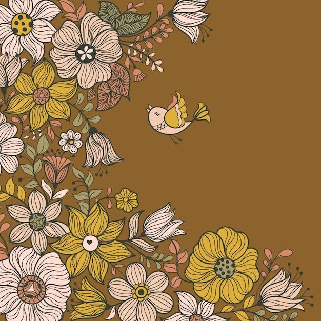 Diseño de banner con flores. Vector Premium