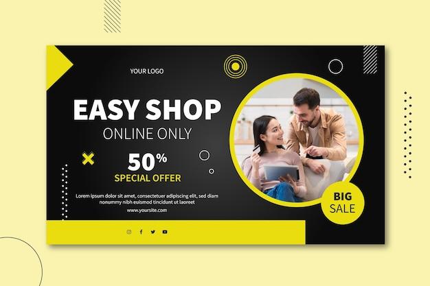 Diseño de banner horizontal de venta online. Vector Premium