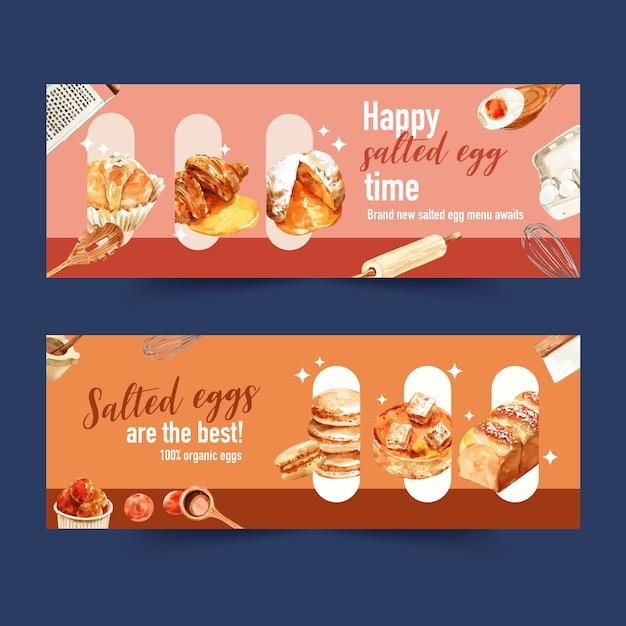 Diseño de banner de huevo salado con pan, crema de choux, ilustración de acuarela de huevo hervido. vector gratuito