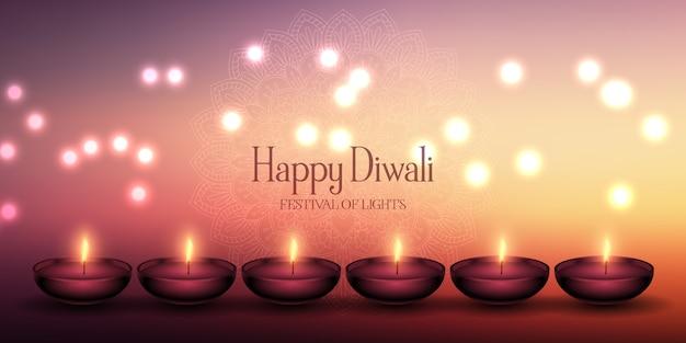 Diseño de banner de lámparas decorativas de diwali. Vector Premium