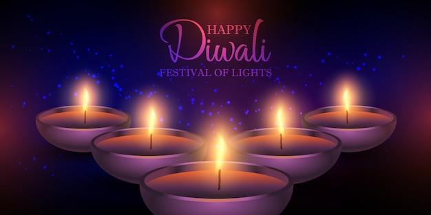 Diseño de banner de lámparas diwali vector gratuito