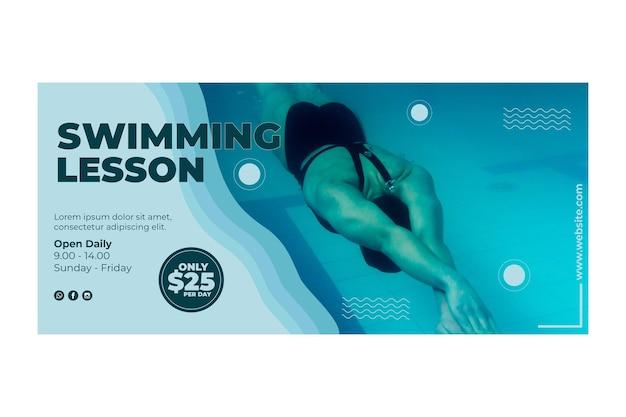Diseño de banner de lecciones de natación vector gratuito