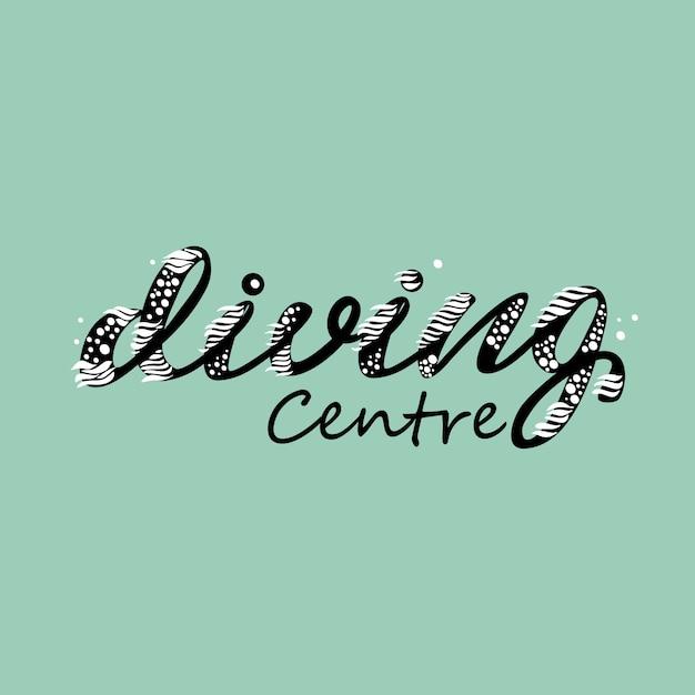 Diseño de banner con lettering diving center. ilustración vectorial Vector Premium
