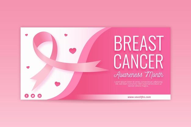 Diseño de banner del mes de concientización sobre el cáncer de mama vector gratuito
