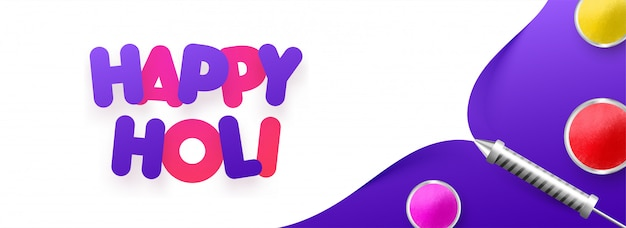 Diseño de banner o cartel de happy holi con elementos del festival para ce Vector Premium