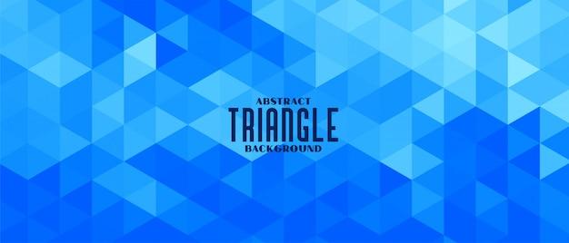Diseño de banner de patrón geométrico triángulo azul abstracto vector gratuito