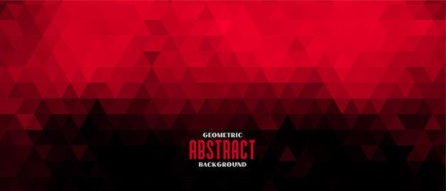 Diseño de banner de patrón de triángulo abstracto rojo y negro vector gratuito