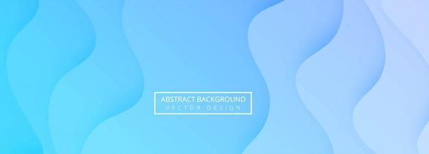 Diseño de banner de plantilla de onda de papercut azul abstracto vector gratuito