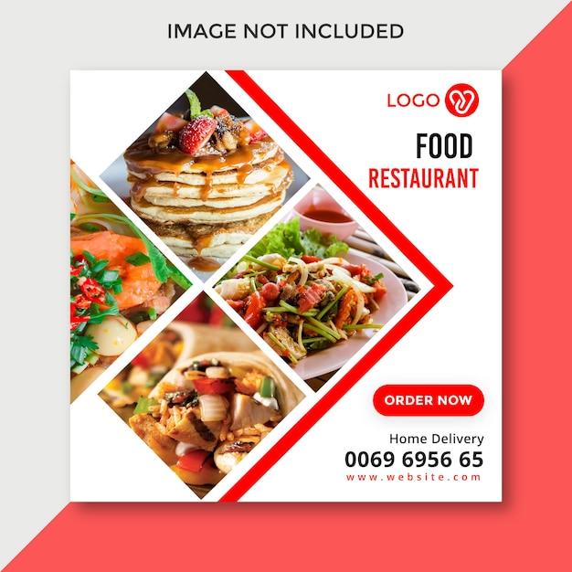 Diseño de banner de redes sociales de alimentos Vector Premium