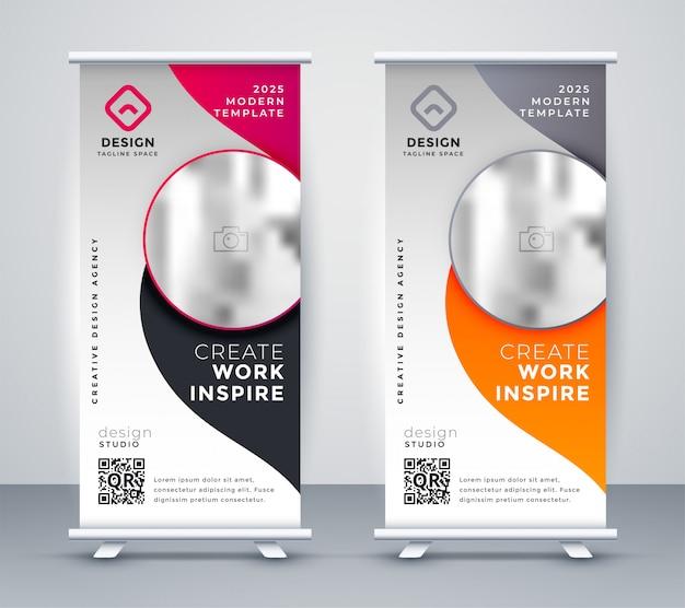 Diseño de banner de rollup de negocio vertical vector gratuito