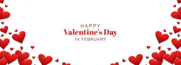Diseño de banner de san valentín con corazones vector gratuito