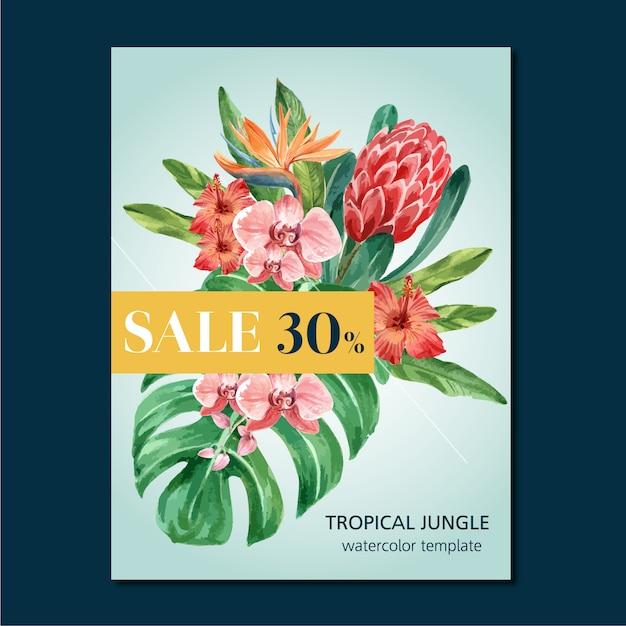 Diseño de banner tropical de verano con follaje de plantas exóticas. vector gratuito