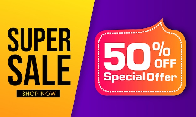 Diseño de banner de vector colorido super venta Vector Premium