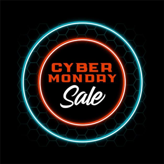 Diseño de banner de venta de lunes cibernético de estilo neón vector gratuito