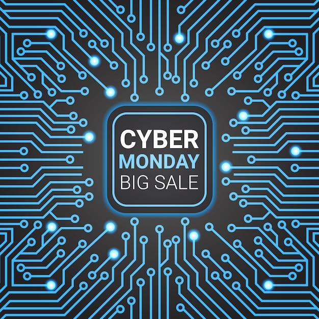 Diseño de banner de venta de lunes cibernético sobre líneas futuristas Vector Premium