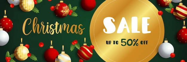 Diseño de banner de venta de navidad con etiqueta dorada vector gratuito