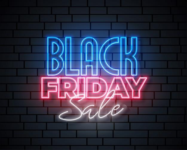 Diseño de banner de venta de neón de viernes negro vector gratuito