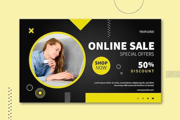 Diseño de banner de venta online vector gratuito