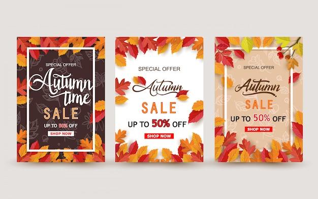 Diseño de banner de venta otoño con conjunto de hojas Vector Premium