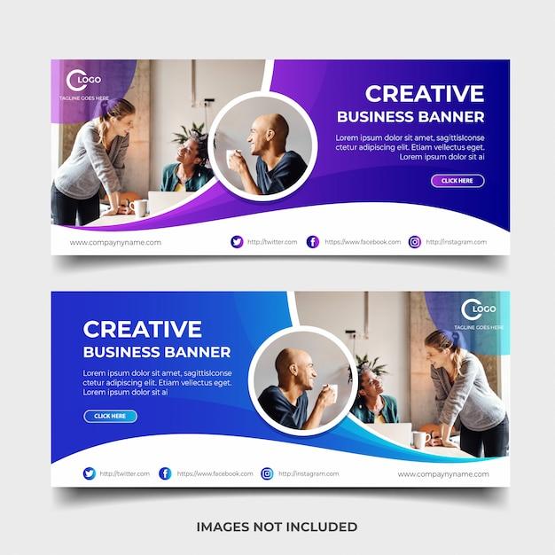 Diseño de banner web empresarial Vector Premium