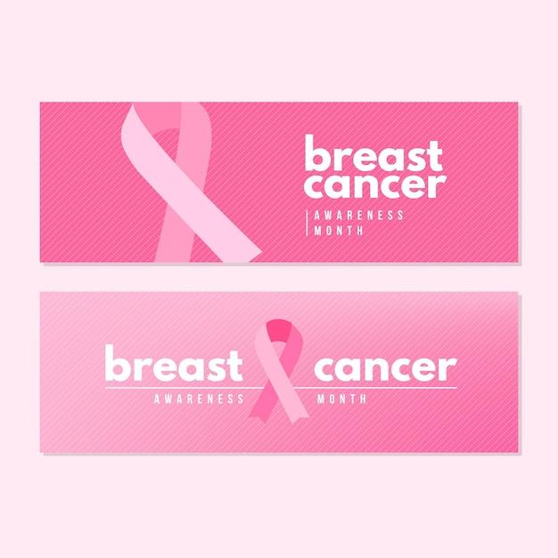 Diseño de banners del mes de concientización sobre el cáncer vector gratuito