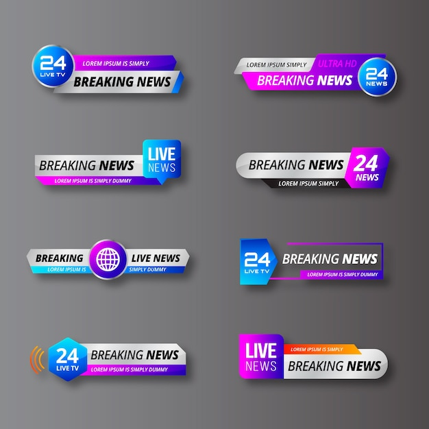 Diseño de banners de noticias de última hora vector gratuito