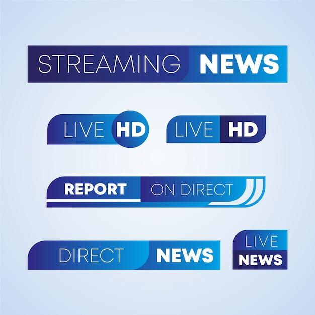 Diseño de banners de noticias en vivo vector gratuito