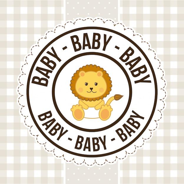Diseño de bebé sobre patrón, tarjeta de felicitación de feliz cumpleaños vector gratuito