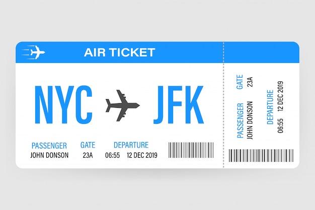 Diseño de billetes de avión moderno y realista con tiempo de vuelo y nombre del pasajero. ilustración vectorial Vector Premium