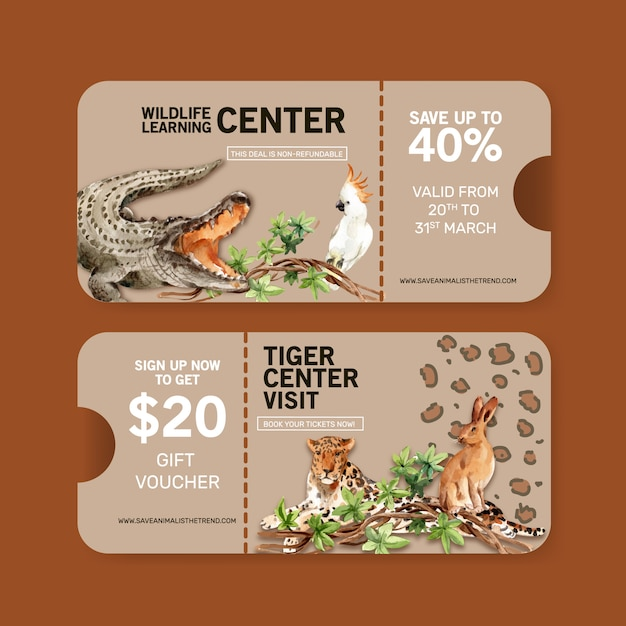 Diseño de boleto zoológico con cocodrilo, leopardo, conejo ilustración acuarela. vector gratuito