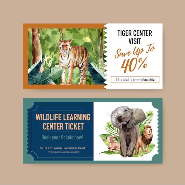 Diseño de boleto zoológico con elefante, león, ciervo acuarela ilustración. vector gratuito