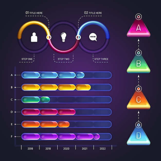 Diseño brillante de elementos de infografía vector gratuito