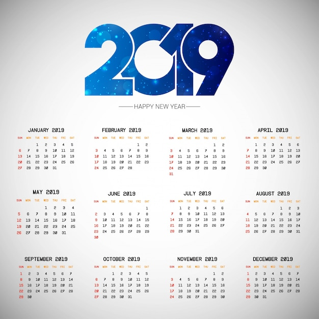 Calendario Con Note.Diseno De Calendario 2019 Con Vector De Fondo Claro