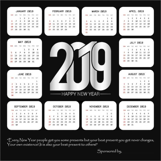 Calendario Vectores.Diseno De Calendario 2019 Con Vector De Fondo Negro