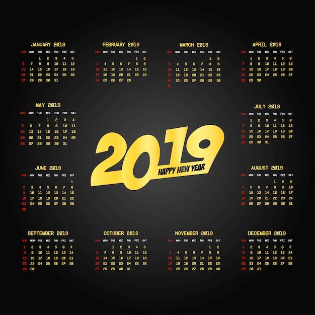 Diseño de calendario 2019 con vector de fondo negro vector gratuito