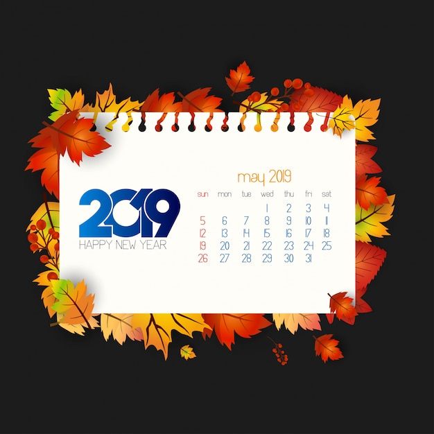 Diseño de calendario 2019 con vector de fondo oscuro vector gratuito