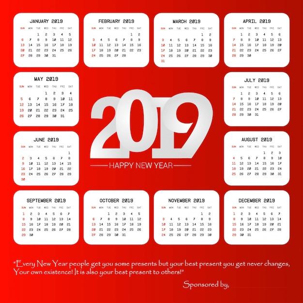 Diseño de calendario 2019 con vector de fondo rojo vector gratuito